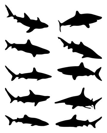 tail fin: Black silhouettes of sharks, vector illustration Illustration