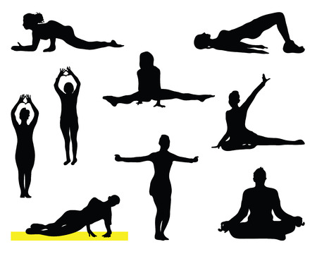 Set of yoga silhouettes, vector Vector
