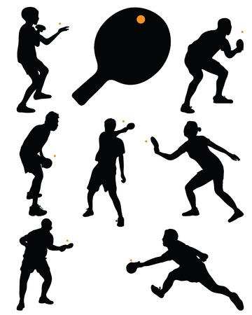 pingpong: Negro siluetas de jugadores de tenis de mesa, vector