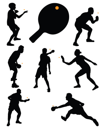 Black silhouettes of table tennis players, vector Vettoriali