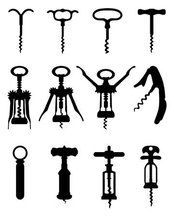 Zwarte silhouetten van verschillende kurkentrekker, vectorillustratie Stock Illustratie