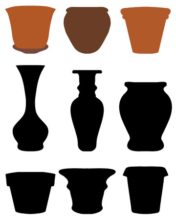 Silhouettes of flower pots and pottery, vector