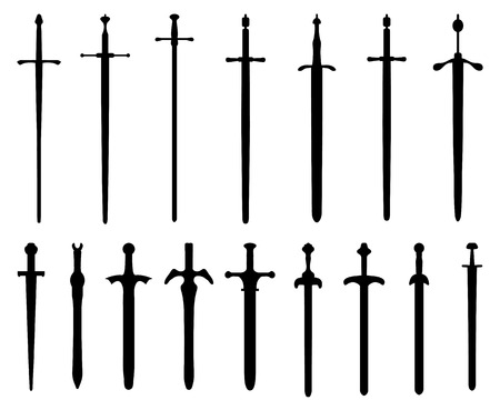 Black silhouettes of swords, vector Vettoriali