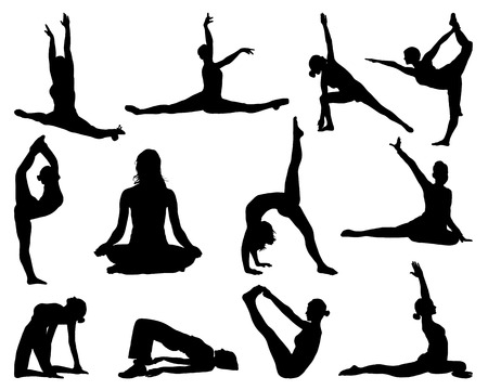 yoga silhouette: Big set of yoga silhouettes, vector