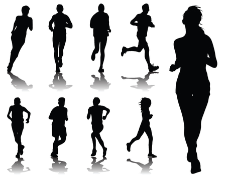 pentathlon: Silhouettes with shadows of running , vector Illustration