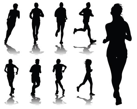 road runner: Siluetas con sombras de funcionamiento, vector