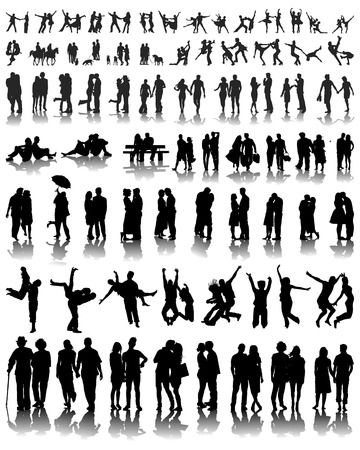Silhouettes with  shadows of couples, vector Vector