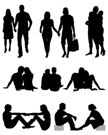 Black silhouettes of couples, vector Vector
