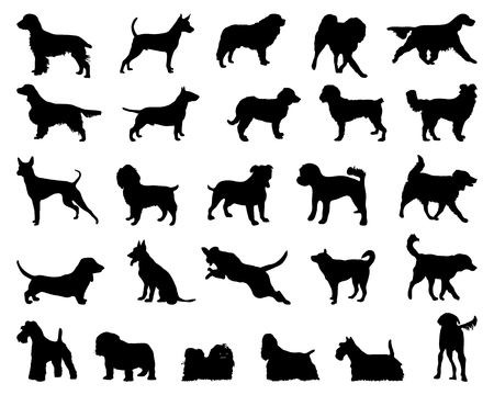 Black silhouettes of dogs, vector Vector