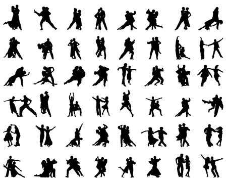 bailarines de salsa: Siluetas de jugadores de tango, vector Vectores