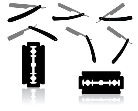 hairdresser shop: Black silhouettes of razors on white background, vector