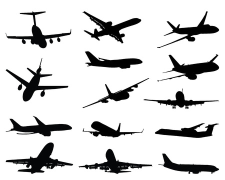Black silhouettes of different airplane, vector