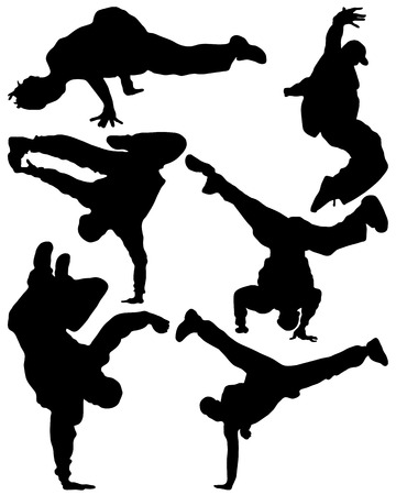 Silhouette of sequence of hip hop dancer, vector