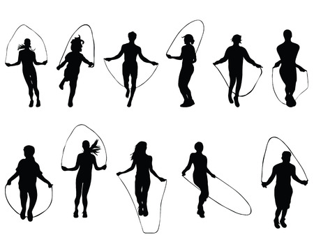 Black silhouettes of  jumping rope, vector Vettoriali