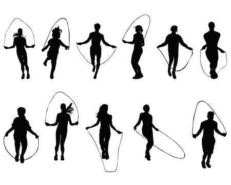 Zwarte silhouetten van touwtje springen, vector