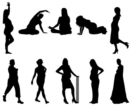 Black silhouettes of pregnant, vector Vector