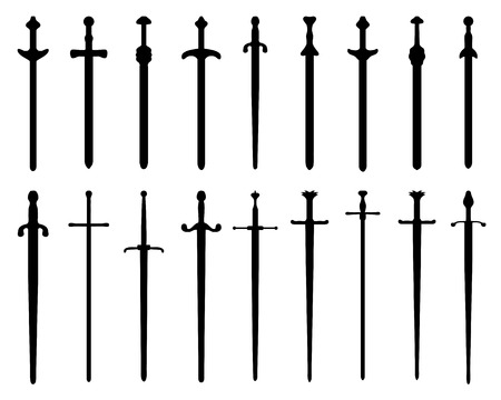Black silhouettes of swords and sabers, vector