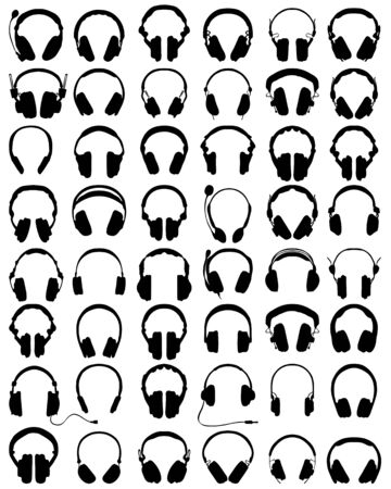 dj headphones: Big set of black silhouettes of headphones, vector Illustration