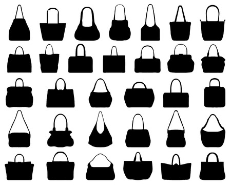 Big set of black silhouettes of handbags, vector