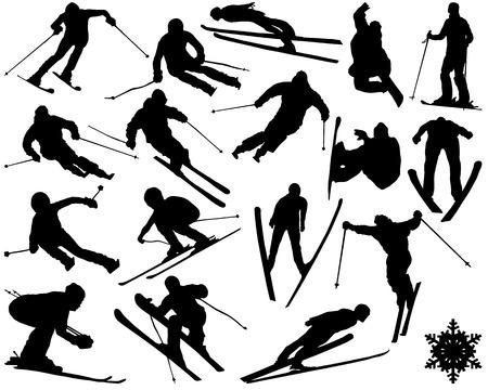 Zwarte silhouetten van skiën, vector illustratie Stock Illustratie