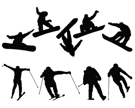Silhouettes of snowboard and ski jumpers, vector