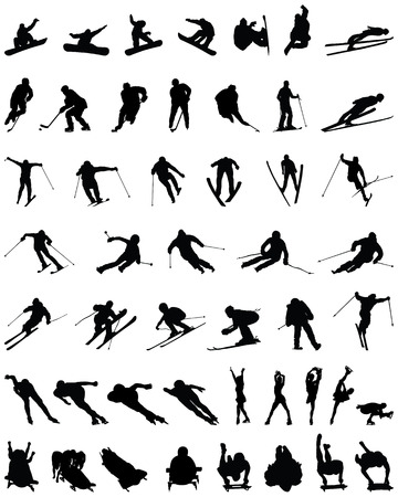 Set of winter sport silhouettes, vector Vector