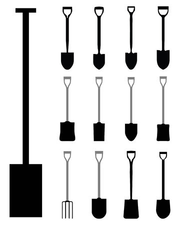 unearth: Black silhouettes of shovels and villas, vector illustration