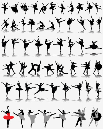 Black ballerina silhouettes on gray background, vector