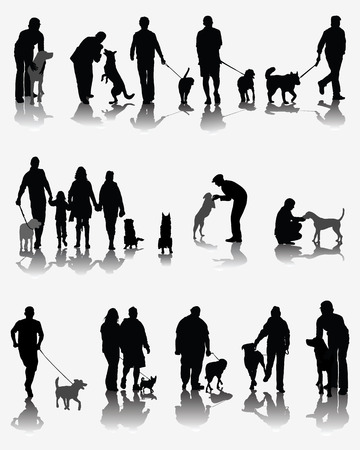 Black silhouettes and shadows of people with dog, vector