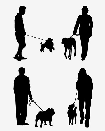 leash: Black silhouettes of people with dogs, vector