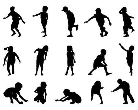 school boys: Black silhouettes of playing of children Illustration