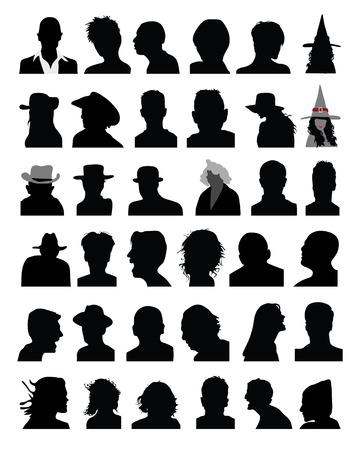 Ensemble de silhouettes noires des chefs