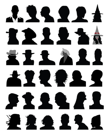 Set of black silhouettes of heads Vettoriali