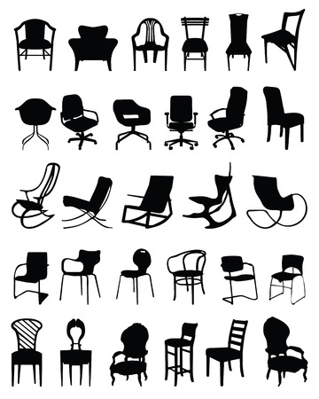 Set of black silhouettes of chairs Vettoriali