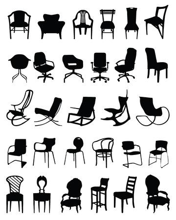 Set di sagome nere di sedie Archivio Fotografico - 26026486