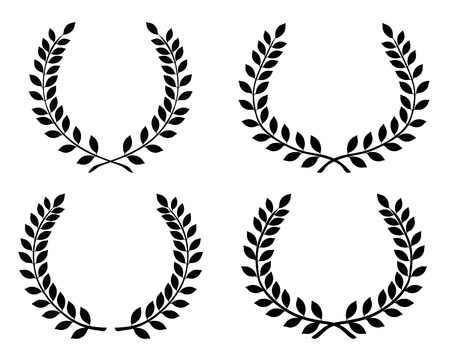 wreaths: Black silhouettes of laurel wreaths, vector isolated