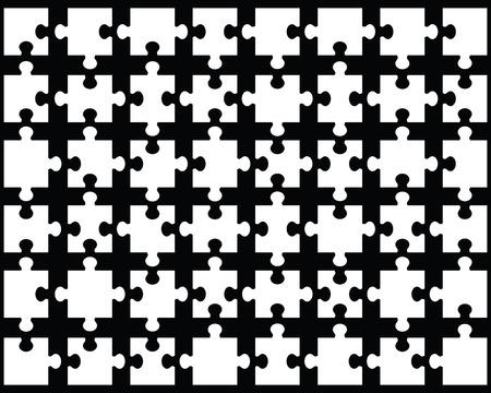 White puzzle on black background, vector illustration