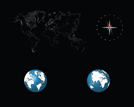 Detailed world map with compass and globes, vector illustration