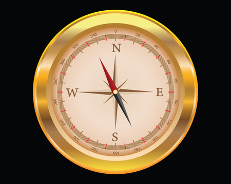 orientate: Gold compass isolated on a black background, vector
