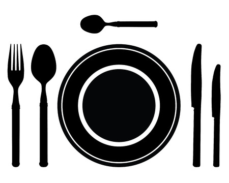 place setting: Black silhouette of knife, fork and spoon