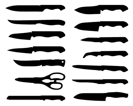 sharpening: Set of black silhouettes of knives, vector Illustration