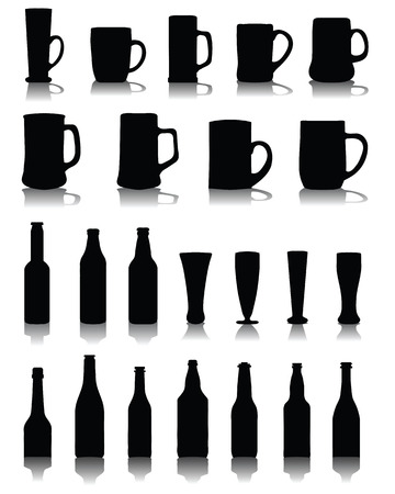 beer stein: Silhouettes and shadows of mugs and glasses  of beer, vector
