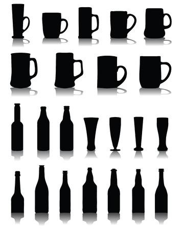 chope biere: Silhouettes et ombres de tasses et verres de bi�re, vecteur
