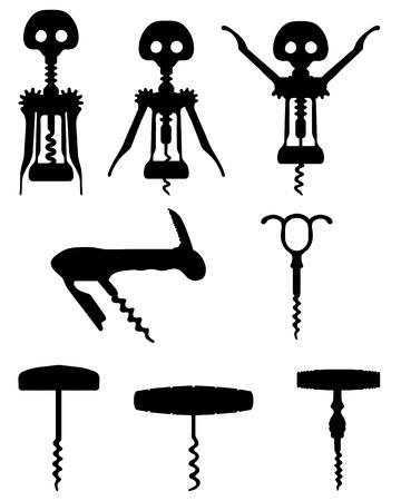 Black silhouette of different corkscrew, vector Vettoriali