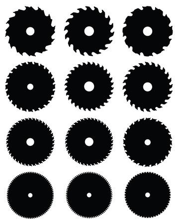 rotative: Silhouettes noires de lames de scies circulaires, illustration vectorielle