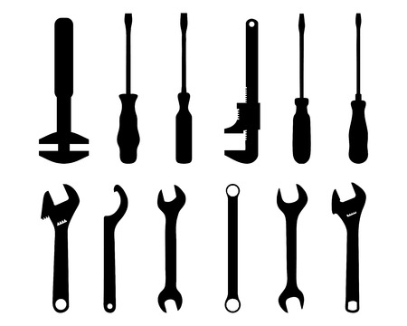 industrial icon: Black silhouettes of screwdriver and screw wrench, vector illustration Illustration