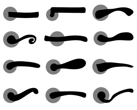 Black silhouettes of door handles, vector illustration Vector