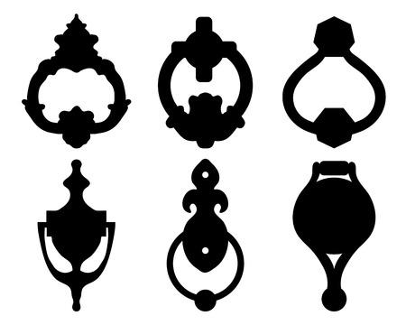 Black silhouettes of door knocker, vector illustration Vettoriali