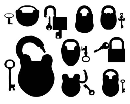Silhouettes of locks with keys, vector illustration Vector
