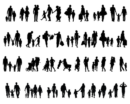mom son: Black silhouettes of families in  walking, vector